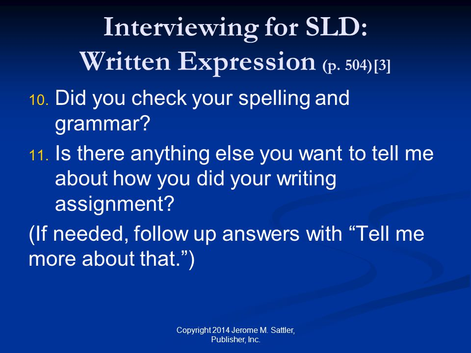 Interviewing for SLD: Written Expression (p. 504)[3]
